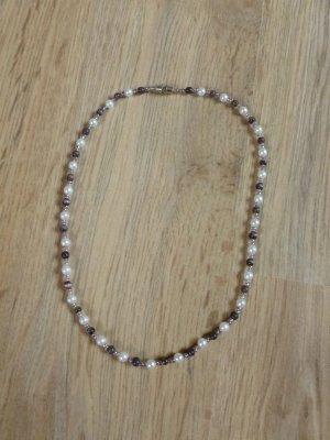 Kette Perlenkette Perlen weiß lila