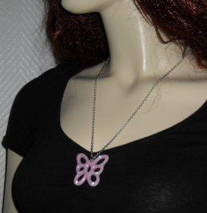 Kette Schmetterling silber farben Anhänger lila flieder glitzer Halskette NEU Et