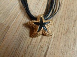 Kette schwarz gold Seestern liberty