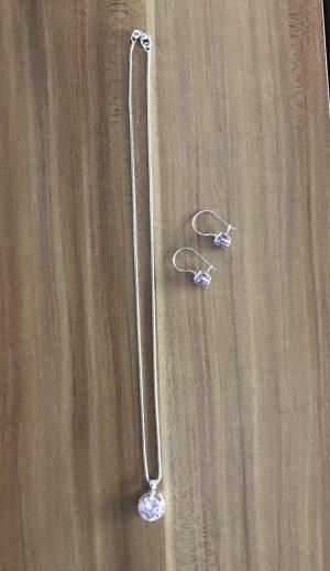 Kette Silber mit lila Stein / Ohrringe