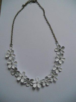 Kette Stementkette weiß Blumen