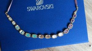 Swarovski Collar estilo collier multicolor oro verdadero