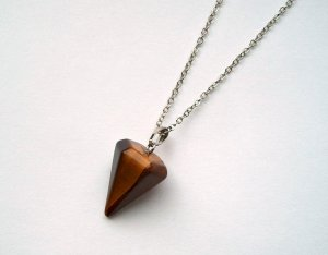 Necklace silver-colored-brown metal
