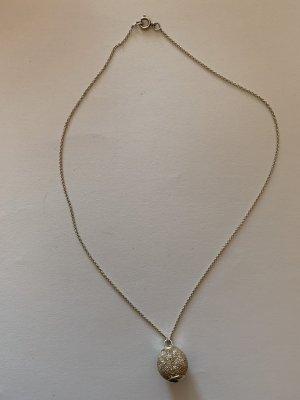 Kette und Anhänger mit Kugel Diamantiert, Silber 925