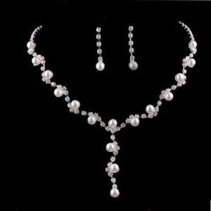 Kette und Ohrringe aus Strass und Perlen Schmuckset Hochzeit Braut