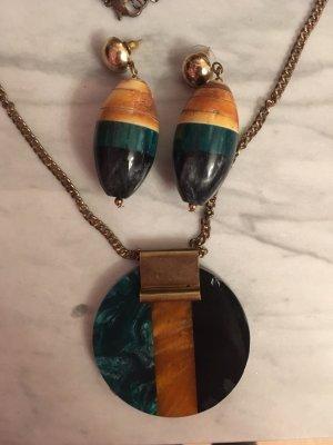 Kette und Ohrringe schwarz, gelb und grün von Mango