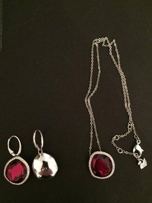 Swarovski Silver Chain dark red real silver