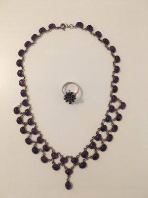 Cadena de cuentas color plata-púrpura