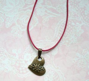 Necklace bronze-colored-raspberry-red metal