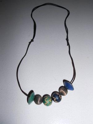 Kette verstellbar mit Perlen Grün Blau