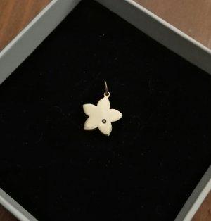 Kettenanhänger 375er gelbgold Blume mit Stein
