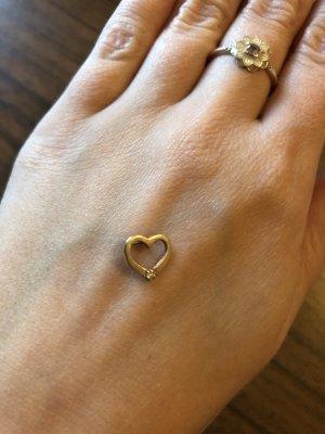 Kettenanhänger Herz Gold mit Steinchen Swarovski