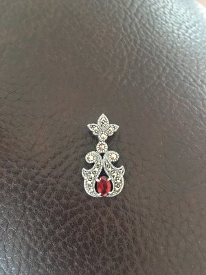 Pendant silver-colored-dark red