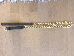 H&M Cinturón negro-color oro