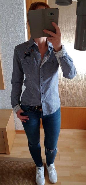 Key Largo DB Fame Hemd Bluse Karohemd Blau-weiß S Neuwertig!