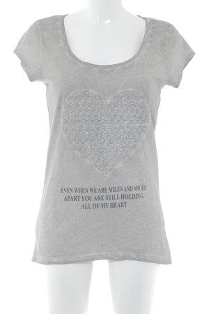 key largo girls Print-Shirt graubraun Inside-Out-Druck Washed-Optik