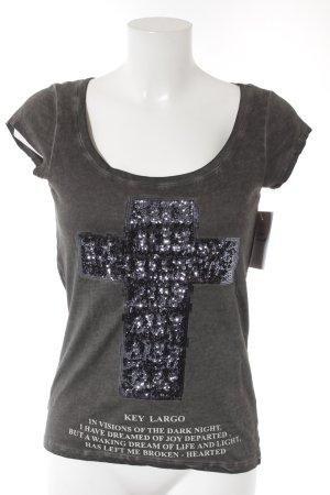 key largo girls T-Shirt graubraun-dunkelblau Schriftzug gedruckt Gothic-Look
