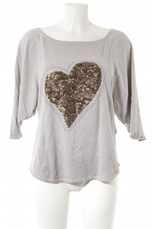 key largo girls Top à col bateau gris clair-gris brun Herzmuster