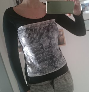 Key Largo langarm Shirt schwarz Pailletten M