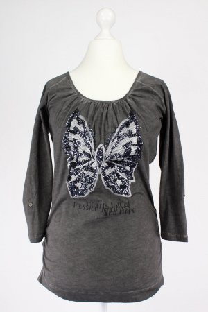 Key Largo Langarmshirt mit Pailletten grau Größe M