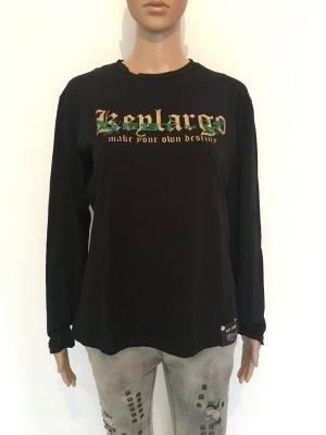 Key Largo m medium langarm Longsleeve Shirt Top Oberteil schwarz Gold Glitzer grün cool stark boyfriend unisex make your own destiny