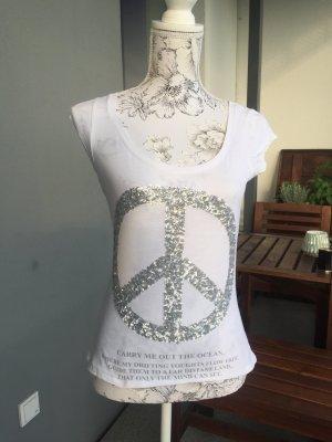 Key Largo Shirt weiß silber mit Pailletten Gr S