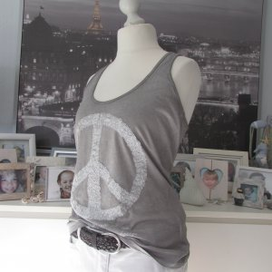 Key Largo * Süßes Sommer Top * grau oilwashed - weiß Peace-Pailletten * XL=40/42