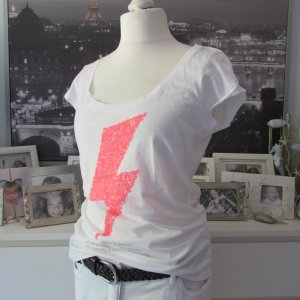 Key Largo * %Summer SALE% Cooles Long Shirt * weiß neon orange Blitz Pailletten * XL=40/42