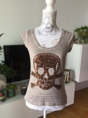 Key Largo T-Shirt mit Pailletten Totenkopf braun Gr S