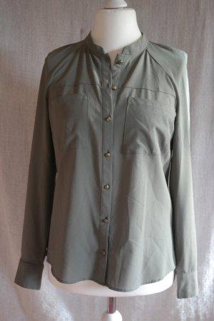 khaki Bluse mit cooler Knopfleiste