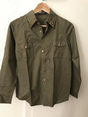 Khaki Bluse mit goldenen Details