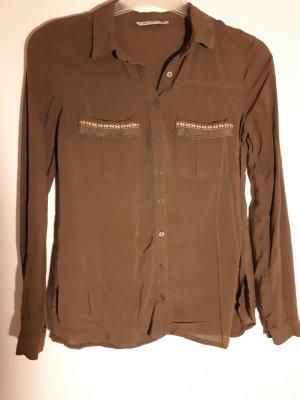 khaki Bluse mit Stickerei