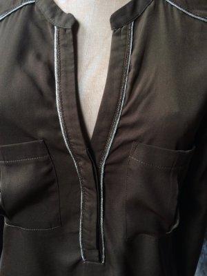 khaki-dunkelgrüne Bluse, schöne Silberdetails, Gr. 38, 2x getragen