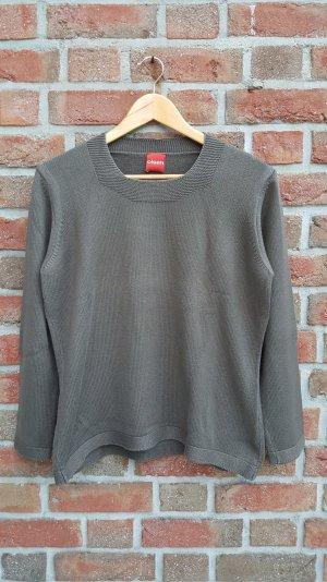 Khaki fabender Pullover mit Häckelausschnitt