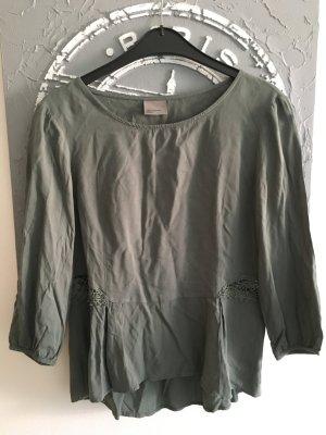 Khaki farbendes T-Shirt mit Details an der Hüfte
