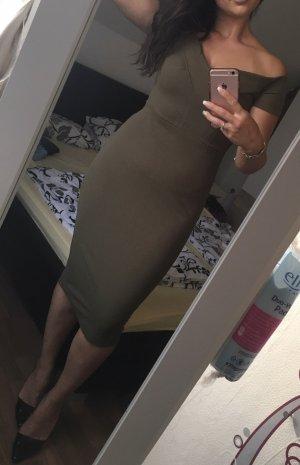 Off-The-Shoulder Dress khaki-green grey