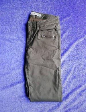 Khaki glänzende Hose Lederhose unecht Lederoptik