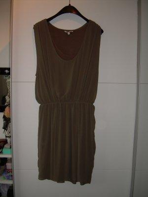 khaki-grünes Minikleid Gr. XL 42 transparent mit Unter-Kleid