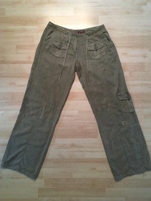 Khaki Hose aus Leinen