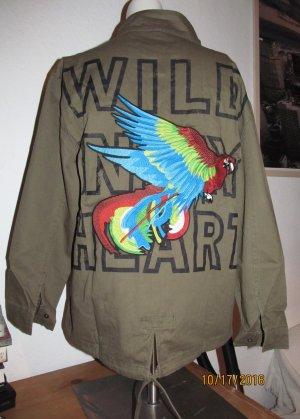 Khaki Jacke mit Aufdruck