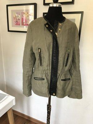 Khaki Jacke mit Leder paspeln Größe 36