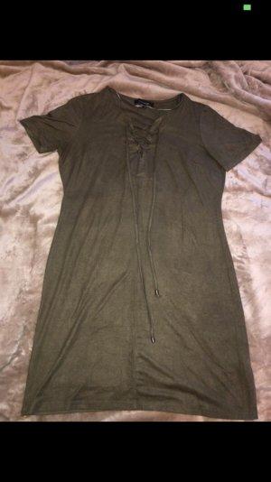 Khaki Kleid in Wildleder Optik