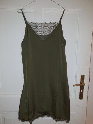 khaki Kleid mit Spitze