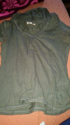 Fishbone Top tipo bustier gris verdoso tejido mezclado