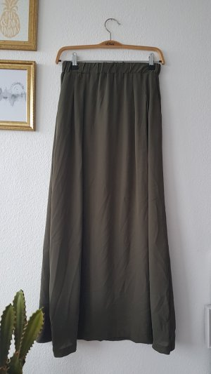 Khaki Maxi Rock Schlitz Cut Out
