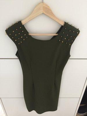 Khaki Minikleid mit Nieten von DSguided