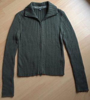 Khaki-/Olivfarbene Strickjacke von Street One in Größe 40