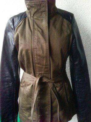 Khaki Parka mit Lederärmeln und Gürtel neu XS 34