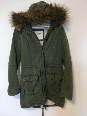 Abercrombie & Fitch Capuchon jas groen-grijs