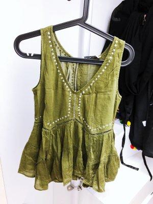 Khaki Peplum Oberteil Bluse von Abercrombie & Fitch